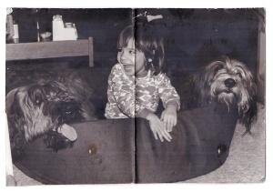 Dit is een foto uit 1977. Mijn dochter met Xavo de bearded collie en Niels de briard van mijn nichtje Sacha